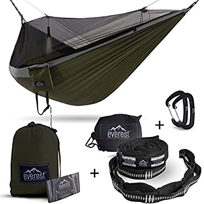 Everest Double Camping Hammock with Mosquito Net   Bug-Free Camping, Hiking, Backpacking & Survival Outdoor Hammock Tent   Reversible, Integrated, Lightweight, Ripstop Nylon   Gray/Green/Net Black