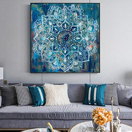 ZDFDC Abstrakte Mandala Blume Wand Poster Druck Moderne Blume Leinwand Malerei Bild Home Decor-60x60cmx1 STK. Kein Rahmen