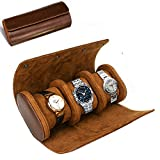 ROSELLE Watch Roll Travel Case for Men and Women- 3 Watch Storage and Organizer-Secure Storage with Innovative Removable Pillows & Solid Dividers for Home Storage, Travel and Display(Brown)