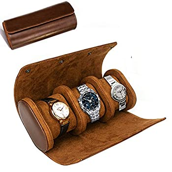 ROSELLE Watch Roll Travel Case for Men and Women- 3 Watch Storage and Organizer-Secure Storage with Innovative Removable Pillows & Solid Dividers for Home Storage Travel and Display Brown