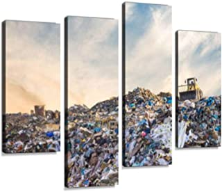 Garbage Pile in Trash Dump or landfill. Pollution Concept. Canvas Wall Art Hanging Paintings Modern Artwork Abstract Picture Prints Home Decoration Gift Unique Designed Framed 4 Panel
