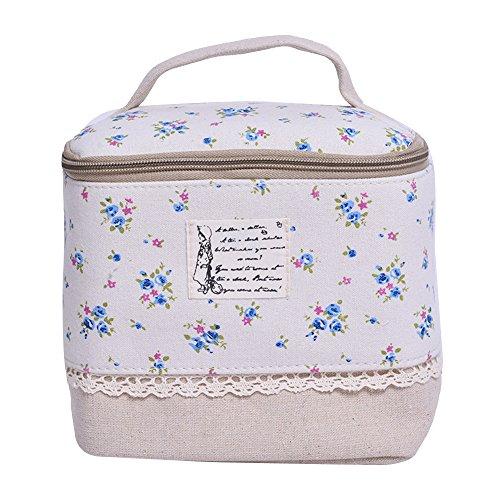 Contever® Multifunzione Sacchetto Hand Cosmetic Borsa da Toilette Borsetta da Viaggio Cosmetico Wash Bag per le Donne la Girl - Fiore Blu