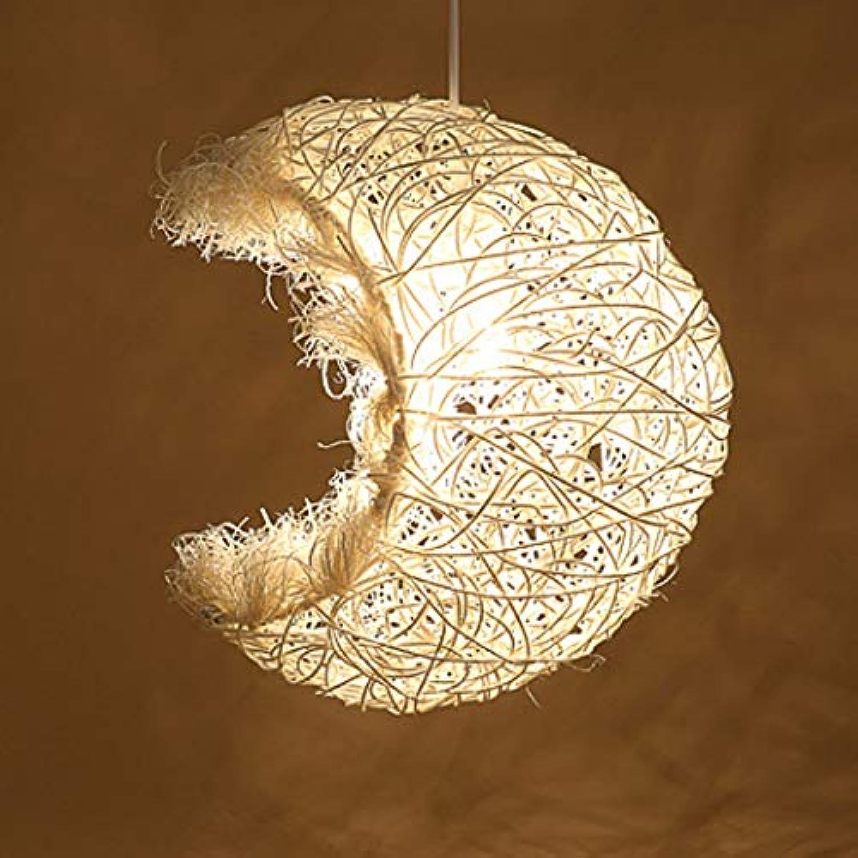 Rindasr Rattanwebung Verstellbarer Kronleuchter, Moon Bay E27 (Designer-Kollektion), Restaurantlicht, Schlafzimmerlichter