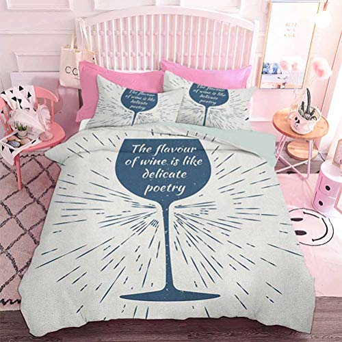 Hiiiman Duvet Cover Set Wine Glass and Vintage Sun Burst Frame The Flavor is Like Delicate Poetry Quote (3pcs, King Size) with 2 Pillow Sham