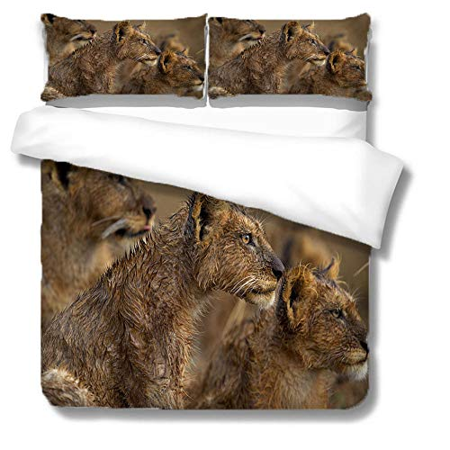 HLL Bedding set full 3 pieces 3D animal printing Lion pouring water Cover Twin Kids Teen Duvet Cover Set Animal Theme Decor Bedspread