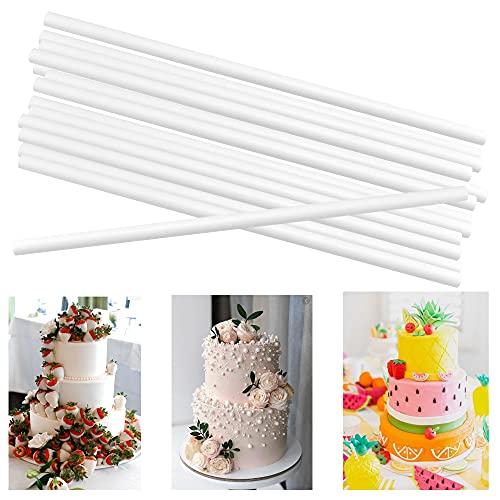 QUCUMER 24 Piezas Varillas de Plástico para Tartas30cm de Largo 1cm de Diámetro Tacos para Tartas Soportes para Tartas para Hacer Pastel en Capas para Boda Cumpleaños, Reutilizables, Cortables