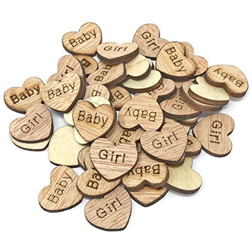 100 X 15 mm bébé fille cœurs en bois style shabby chic vintage craft Scrapbooking embellissements Confetti Cœur