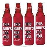 BUDWEISER 16oz Beer SLIM BOTTLE Cooler Coolie Hugie Water - 4 Pack
