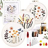 YINVA 3 Sets Embroidery Starter Kit, Embroidery Beginner Kits, Cross Stitch Kit Include 3 Embroidery Clothes with Floral Pattern Instructions Hoops Floss Thread Fabric Needles for Beginners