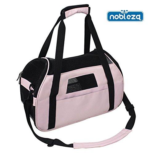 Nobleza 030170 - Bolso transportín de tela oxford para perros, gatos o animales pequeños. Grande, Color Rosa Largo 48 cm