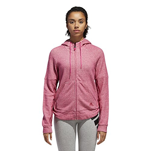 Adidas Leichtathletik Sport 2Street Zip Hoodie, Damen, Kapuzenpullover, Athletics Sport 2 Street Full-zip Hoodie, Real Magenta Melange/Unity Pink, Medium