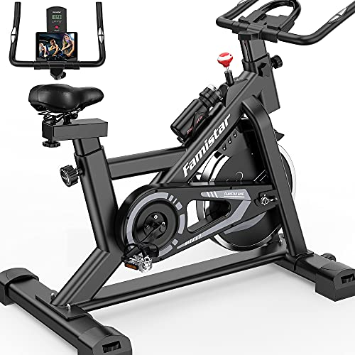 Famistar Exercise Bike,Indoor Cycling Bike Stationary,40 lbs Quiet Flywheel Max.300 lbs Capacity with LCD Display,Adjustable Comfortable Seat and Smooth Quiet Belt,Carbon-Steel Heavy-duty Cycle Bike