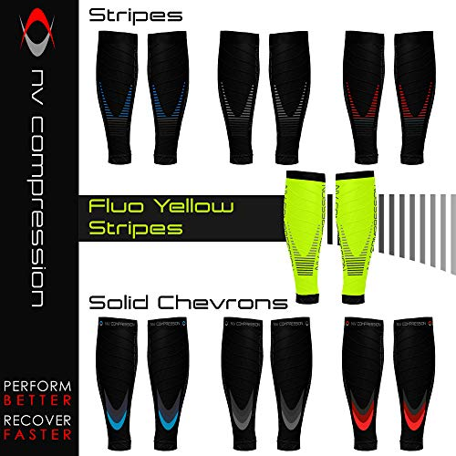 NV Compression Race and Recover Fußlose Kompressionsstrümpfe - Wadenstütze Kompression Compression Calf Sleeves - for Sports, Laufen, Radfahren, Triathlon, Crossfit, Gym, Tennis - 2