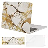 MOSISO Compatible with MacBook Pro 13 inch Case 2019 2018 2017 2016 Release A2159 A1989 A1706 A1708, Plastic Pattern Hard Shell Case & Keyboard Cover Skin & Screen Protector, White Gold Marble