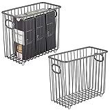 mDesign Juego de 2 organizadores de cocina con asas – Versátil cesta de metal multiusos para cocina o despensa – Cesto de alambre compacto y universal – gris oscuro