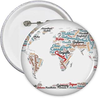 Lot de 5 badges avec motif carte du monde