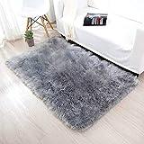 INKARO Alfombra de piel sintética de cordero de oveja de imitación de lana, apta para alfombra de salón, de pelo largo, suave, para cama, sofá, color gris, 90 x 160 cm