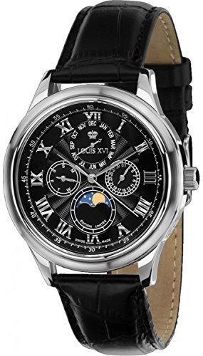 LOUIS XVI Herren-Armbanduhr La Lune Silber Schwarz Mondphase Analog Quarz echtes Leder Schwarz 489