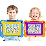 2 Pack Midsize Magnetic Doodle Drawing Board Toy for Kids & Toddlers -  Colorful Magnetic Etch Erasable A Sketch Writing Drawing Pad with Magic Pen Classic Gift for Boys Girls Birthday Holiday Party
