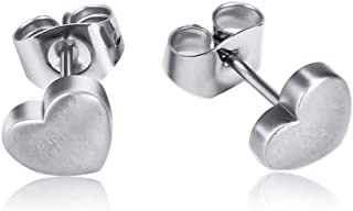 Pure Titanium Heart Stud Earrings for Women Men Classic Design, Hypoallergenic & Nickel Free (Heart without CZ)