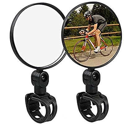 KEWAYO Bike mirror, Add anti-skid pad 2pcs bike rear view mirrors with Wide Angle Convex Mirror, Adjustable Rotatable Handlebar for Mountain Bike, Off-Road Bike and Fixed Gear Bike Handlebars