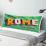 """RUBEITA Federa per Il Corpo,Vintage turistico Roma, Italia,copricuscino Lungo Traspirante con Cerniera per Divano Letto da Letto 20""""x54"""""""