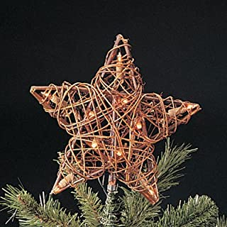 """Kurt Adler 9"""" Eco Country Natural Brown Rattan Star Christmas Tree Topper - Clear Lights"""