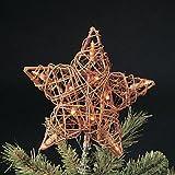 Kurt Adler 10 Light Indoor Rattan Natural Star Treetop...