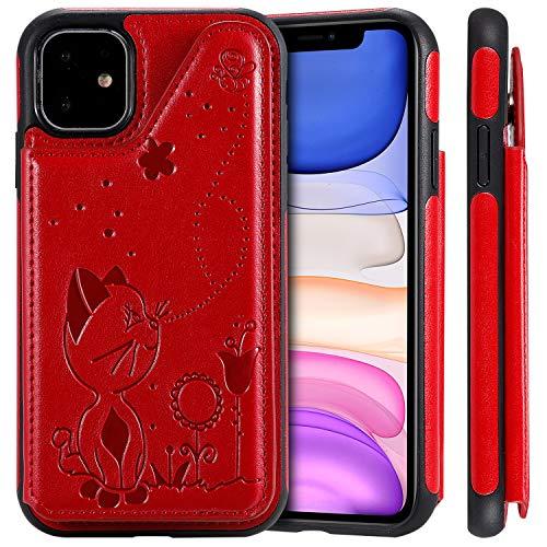 Schutzhülle für iPhone 11 mit Magnetverschluss, mit 2 Kartenfächern (Ausweis, Kreditkarte oder Führerschein), 15,5 cm Fallschutz, präzise Aussparungen, modisch, für Mädchen und Jungen, Unisex, Rot