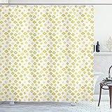 ABAKUHAUS Grün Gelb Duschvorhang, Blumen Gänseblümchen, mit 12 Ringe Set Wasserdicht Stielvoll Modern Farbfest & Schimmel Resistent, 175x200 cm, Hellgrün Gelb & Weiß