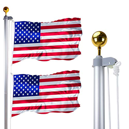 HC Display 20 FT Sectional Flag Pole Kit, Heavy Duty Aluminum In-ground Flagpoles Fly 2 Flags with 3'5' American Flag and Golden Ball for Residential or Commercial Use