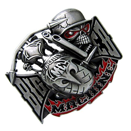 IPOTCH Belt Buckle Metal Gothic Skull Pattern for Casual Jeans - Style 1, 8.9x7.2cm