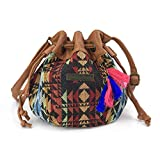 Hoxis Totem Bohemian Patterned Canvas Drawstring Mini Bucket Shoulder Bag Satchel (Geometry)