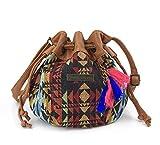 Hoxis Totem Bohemian Patterned Canvas Drawstring Mini Bucket Shoulder Bag Satchel (Geometry)
