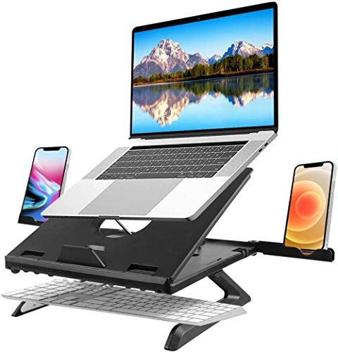 Laptop stand is foldable, 9-angle adjustable ventilated laptop stand with foldable legs and phone stand, space-saving laptop stand for portable laptops, suitable for tablets and phones