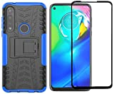 Motorola Moto G Power Case with Screen Protector, Yiakeng Shockproof Silicone Protective with Kickstand Hard Phone Cover for Moto G Power 2020 (Blue)