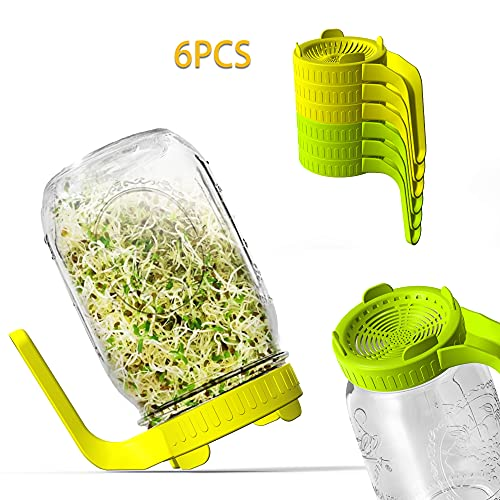 Sprouting Jar Kit Seed Sprouter Set, Plastic Mesh Lid, Blackout Sleeve and Plastic Drip Tray for Making Seeds Sprouts