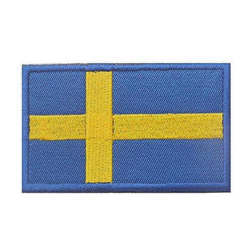 Phoenix Ikki 世界の国旗 30国 タクティカル 服縫製 DIY デコレーション 国旗エンブレム サバゲーミリタリーパッチ 布 刺繍 ワッペン 腕章 マジックテープ アップリケ 8cm×5cm Sweden スウェーデン
