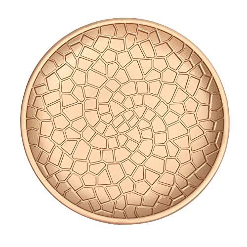 Flanacom Premium Dekoschale aus Holz - Tisch-Deko mit Verzierungen - Design Holz-Schale - Wohnaccessoires - Robustes Deko-Tablett - Obst-Schale - Moderne Deko Wohnzimmer - ca. 28 x 28cm - Gold