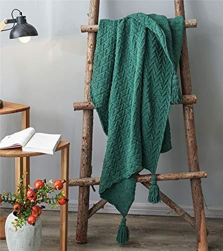 Blanket Manta de punto, cálida y acogedora tela de nap con borlas, para sofá, silla, cama, hermosa decoración del hogar (color verde)