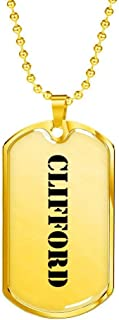 Clifford - 18k Gold Finished Luxury Dog Tag Necklace Personalized Name Father's Day Birthday Gifts Jewelry
