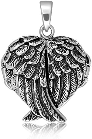 WithLoveSilver 925 Sterling Silver Feather Angel Wing Charms Pendant Locket product image