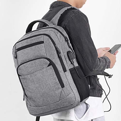 Schulrucksack Jungen Mädchen Teenager, Rucksack Schule Laptop Rucksack für Herren Damen Daypacks für 15.6 Zoll Laptop Business Rucksack mit USB Ladeanschluss, Oxford, 35L Grau
