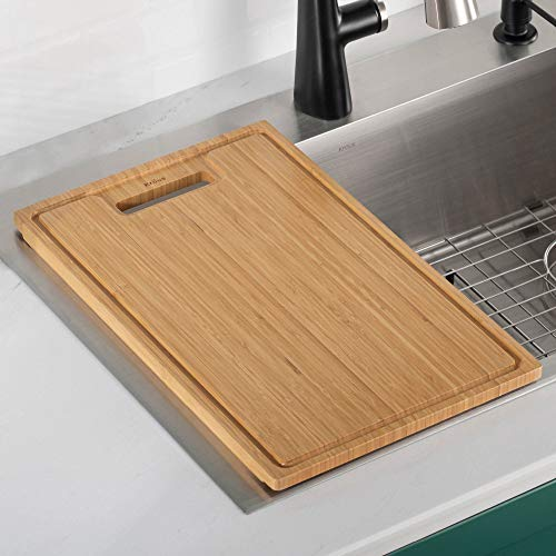 "Kraus 19"" x 12 1/2"" Kore Over The Sink Bamboo Cutting Board $24.03 + FS w/ Prime or orders of $25+"
