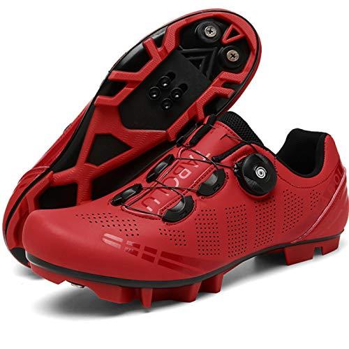 AGYE Zapatillas Ciclismo Hombre,Zapatillas de Bicicleta MTB para Mujer, Zapatillas de Bicicleta Mountain Lock, Zapatillas de Ciclismo SPD Riding MTB,Red-38