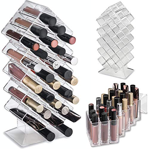 byAlegory Acryl Lipgloss Makeup Organizer   28 Räume, die flach stehen und gestapelt werden sollen
