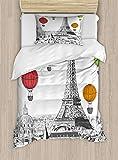 ABAKUHAUS París Funda Nórdica, Torre Eiffel y Globos, 1 Funda para Almohada Set Decorativo de 2 Piezas, 264 x 220 cm, Multicolor