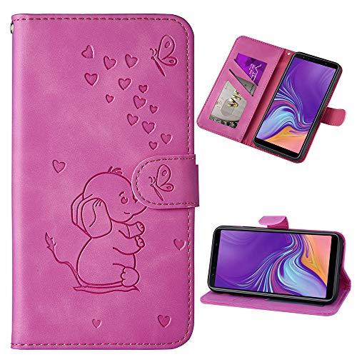 Capa carteira XYX para iPhone Xs Max 6,5 polegadas, [elefante amor em relevo] capa protetora flip de couro PU com compartimentos para cartão para meninas/mulheres, roxo
