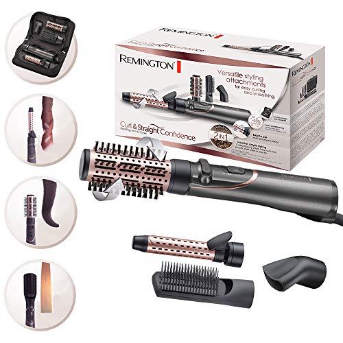 Remington Brosse Soufflante Rotative, Brosse Plate, Sèche Cheveux et Fer à Boucler 4en1 - AS8606 Curl&Straight Confidence