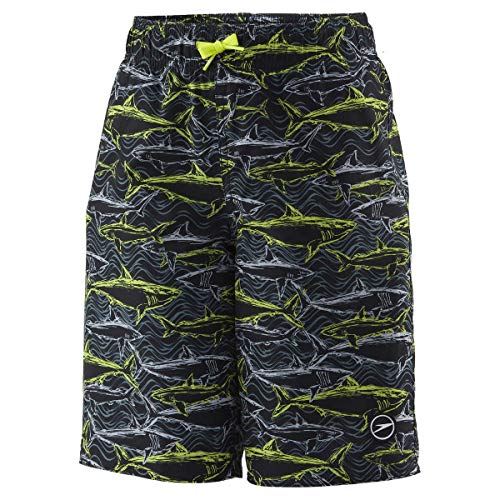 Speedo Boys Volley Short Swim Shorts, Trunks, Water Shorts (Large, Neon GreenSharks)